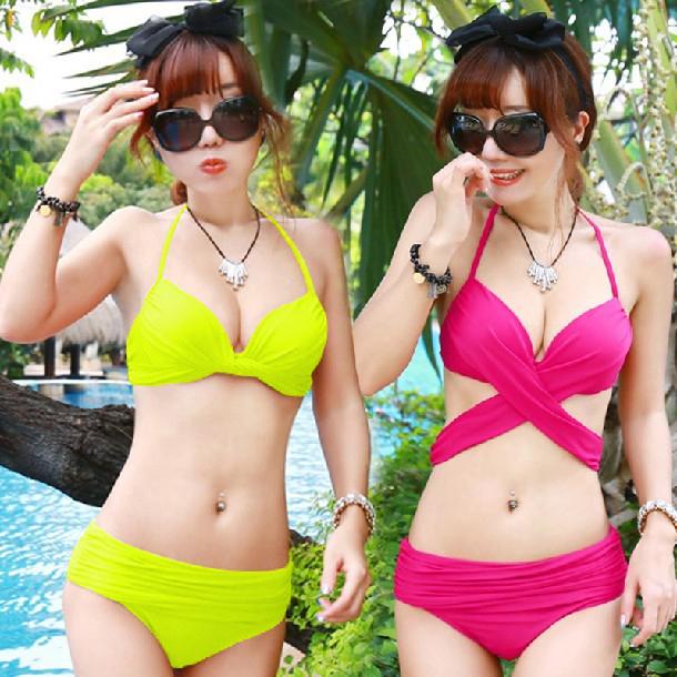 Купить 1 получить 3 сумки корейской версии mail постоянно меняющейся вид флуоресцентные цвета стальной пластины за бикини купания костюм маленькая грудь большая грудь купальник