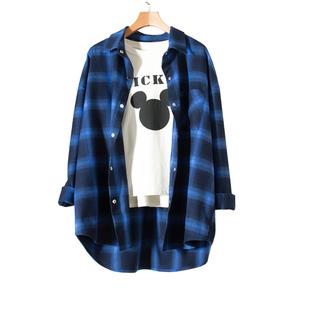 2020新款藍色格子襯衫女寬鬆韓版中長款長袖設計感外套復古港味大