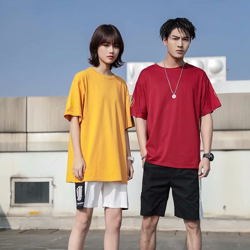 Super girl couples t-shirt mens Korean version with short sleeve and loose summer package