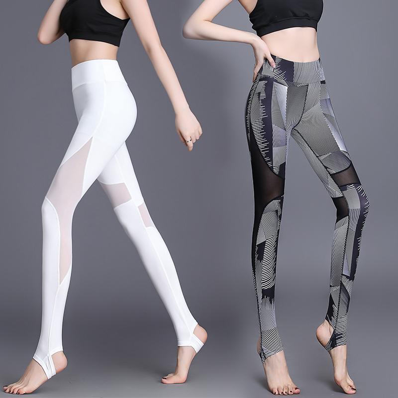 瑜伽裤女性感高腰印花踩脚高弹紧身速干提臀白网纱运动健身服春夏