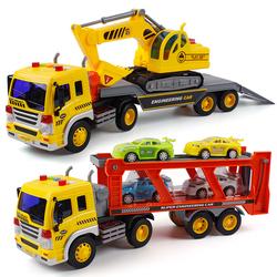 男孩惯性玩具车拖车挖掘机双层运输车货柜车会讲故事音乐儿童汽车