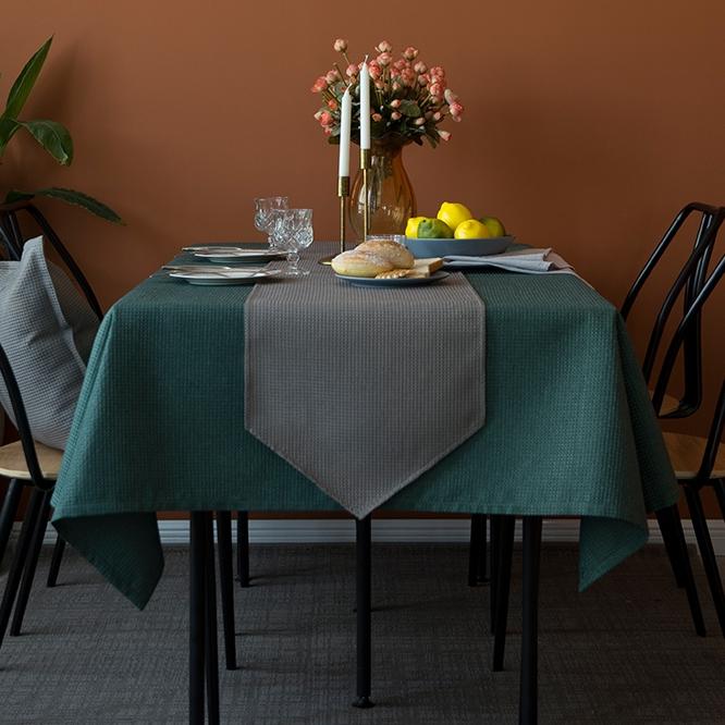 美式餐桌布艺长方形茶几书桌布西餐厅复古台布桌旗简约纯色家用热销69件限时2件3折