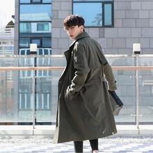 原创韩版风衣男潮流秋季男士中长款翻领帅气宽松大衣休闲英伦外套