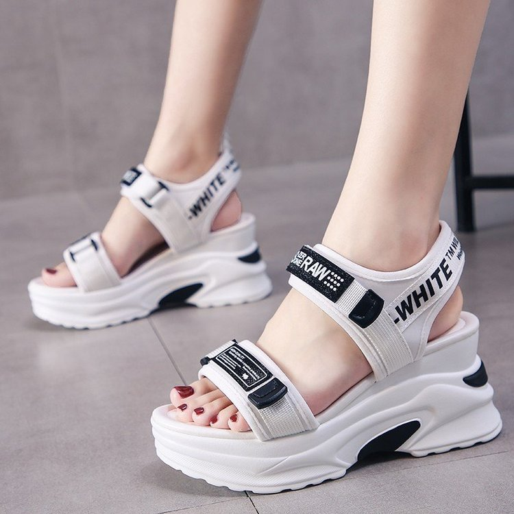 Summer sandals womens 2021 new slope heel fashion womens shoes ins fashion sports dad thick bottom muffin peep toe