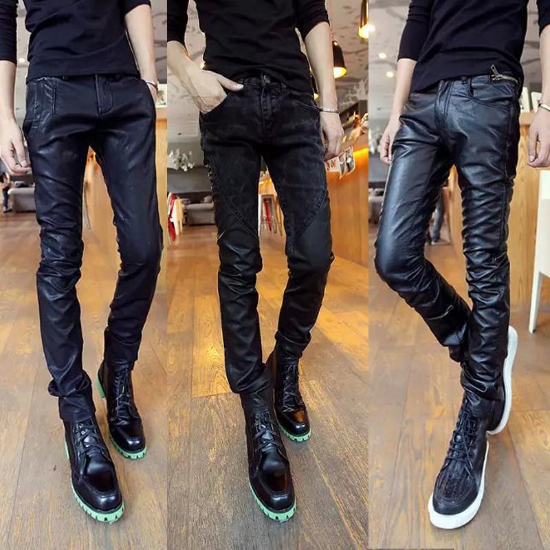 Молодежный черный Кожаные штаны мужской осень-зима сезон приталенный Штаны для ног корейская версия модные Мотоцикл мотоциклетный мужской брюки