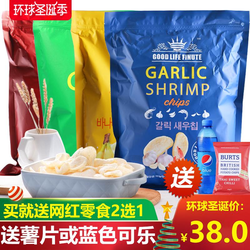 韩国进口good life finute趣莱福虾片网红薯片超大garlic shrimp