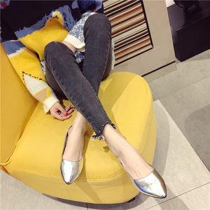 2020春夏季新款平底鞋简约单鞋女银色女鞋尖头鞋浅口日系大码小码