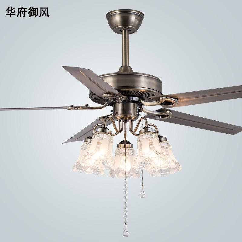 灯具照明风扇灯吊扇灯餐厅卧室家用现代简约复古铁叶电扇灯吊扇灯