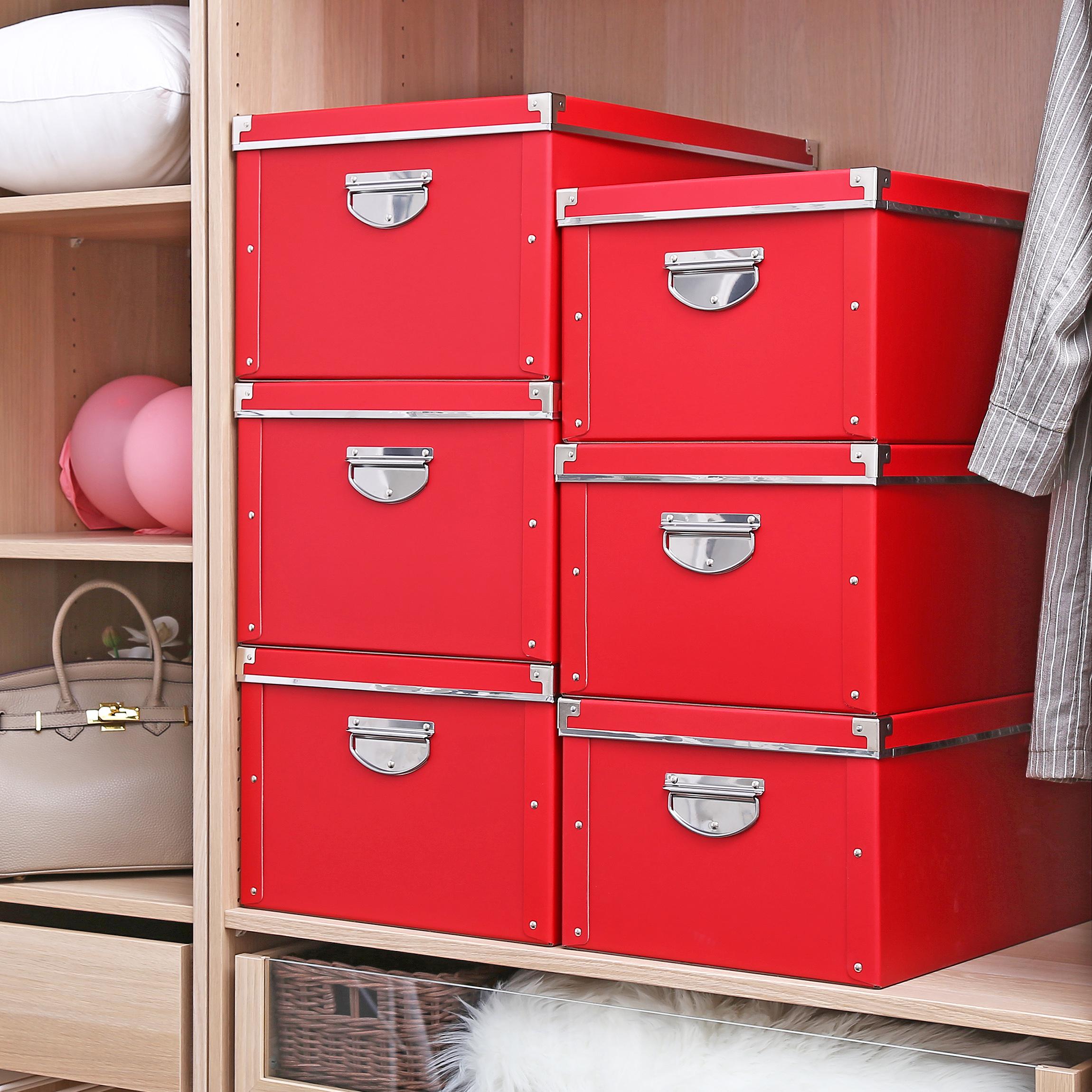 HW收纳箱纸质大号衣服整理箱带盖可折叠储物箱家居收纳盒