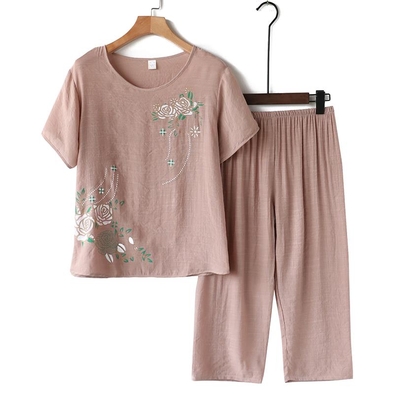 中老年人女夏款棉麻套装两件套奶奶薄款短袖七分裤老太太休闲套装 thumbnail