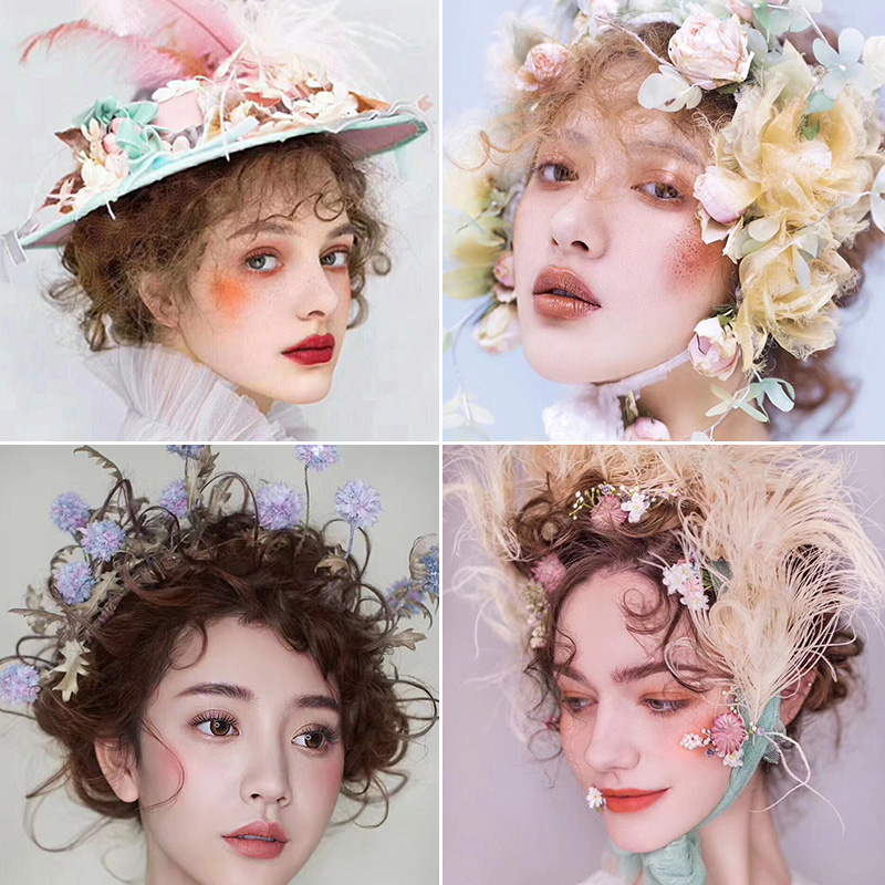 Annas Handmade hat hat hat hat decoration wedding dress picture of flower flower rosette female pastoral retro bridal headdress