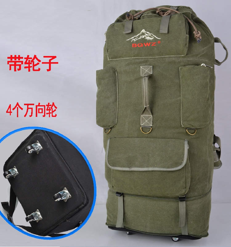 Extra large canvas mountaineering bag large capacity 180L mens double shoulder outdoor travel backpack womens travel bag tent bag 120L