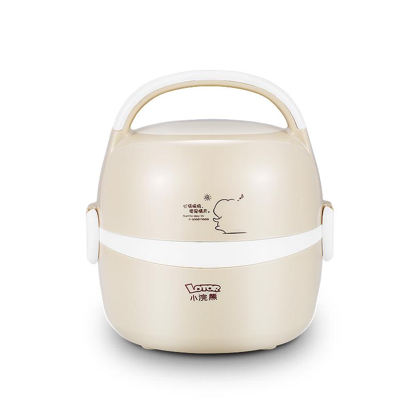 小浣熊HM~2013電熱飯盒雙層不鏽鋼內膽加熱飯盒蒸煮插電飯盒