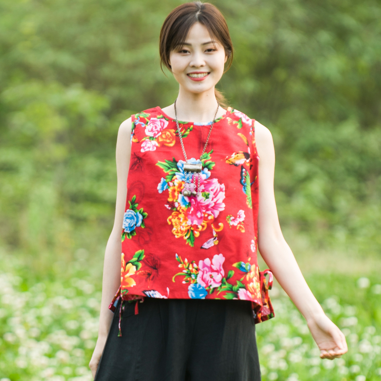 Cotton and hemp top branch brand summer printed vest Chinese traditional peony pattern loose and breathable