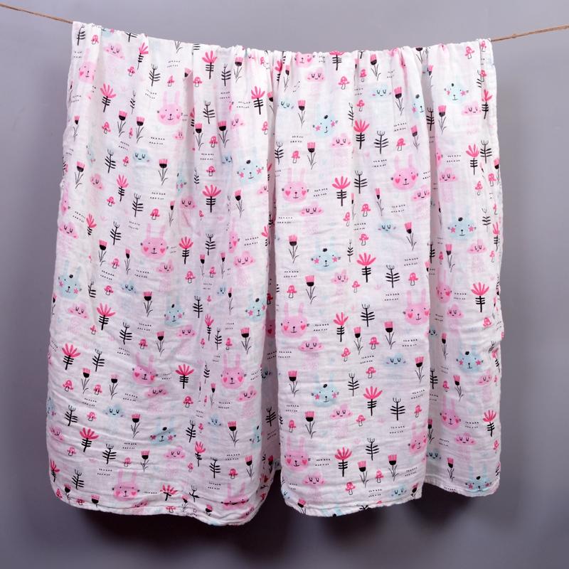 春夏季超薄款纱布无荧光新生浴巾