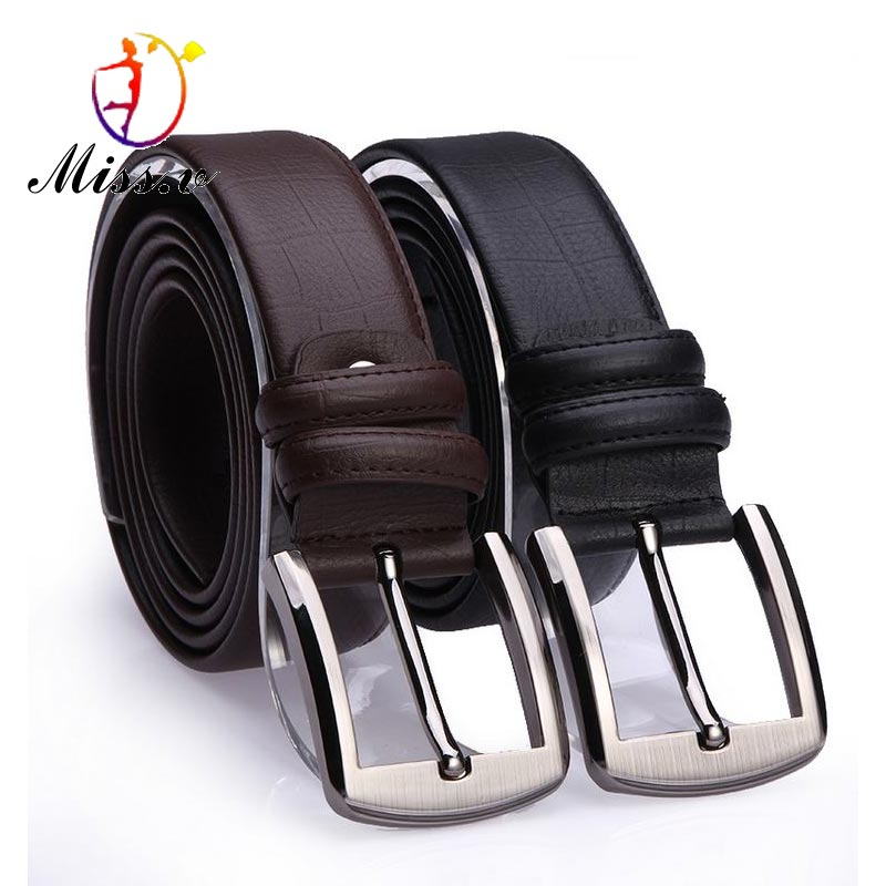 Mens leather pin buckle belt cowhide Korean fashion casual jeans wide belt middle-aged and young students old mens pants pocket