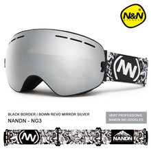 NANDN skiing, double fog proof men's and women's large spherical ski glasses equipment, single and double plate goggles, myopia.