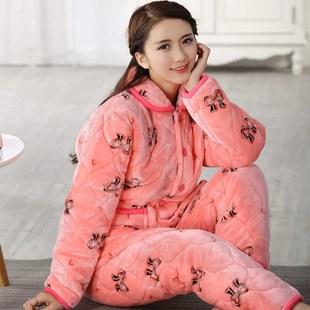睡衣女冬季珊瑚绒三层加厚保暖加绒棉袄可爱夹棉法兰绒套装家居服
