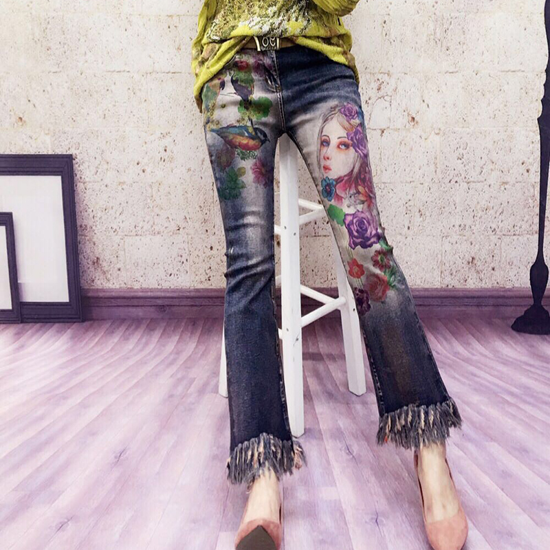Europe station spring and summer 2020 new stretch show thin color painting gilt personalized printing flared jeans women European fashion