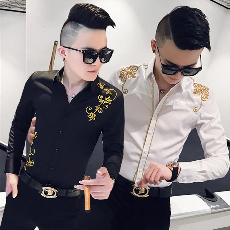 2019秋季个性长袖发型师修身衬衣(非品牌)