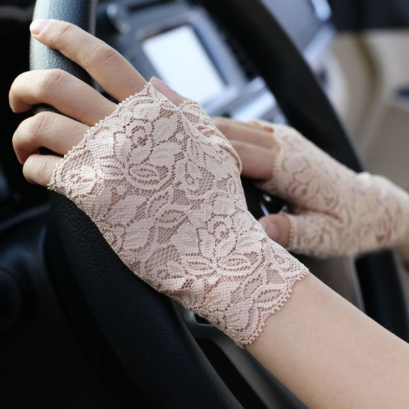 Summer womens lace Cute short half finger scar tattoo gloves thin half cut open Fingerless Gloves
