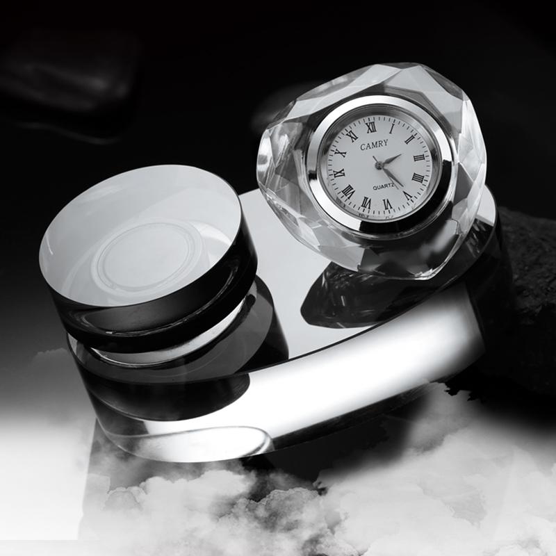 艾可斯汽車香水座帶時鍾表時間 車用水晶擺件儀表台裝飾用品