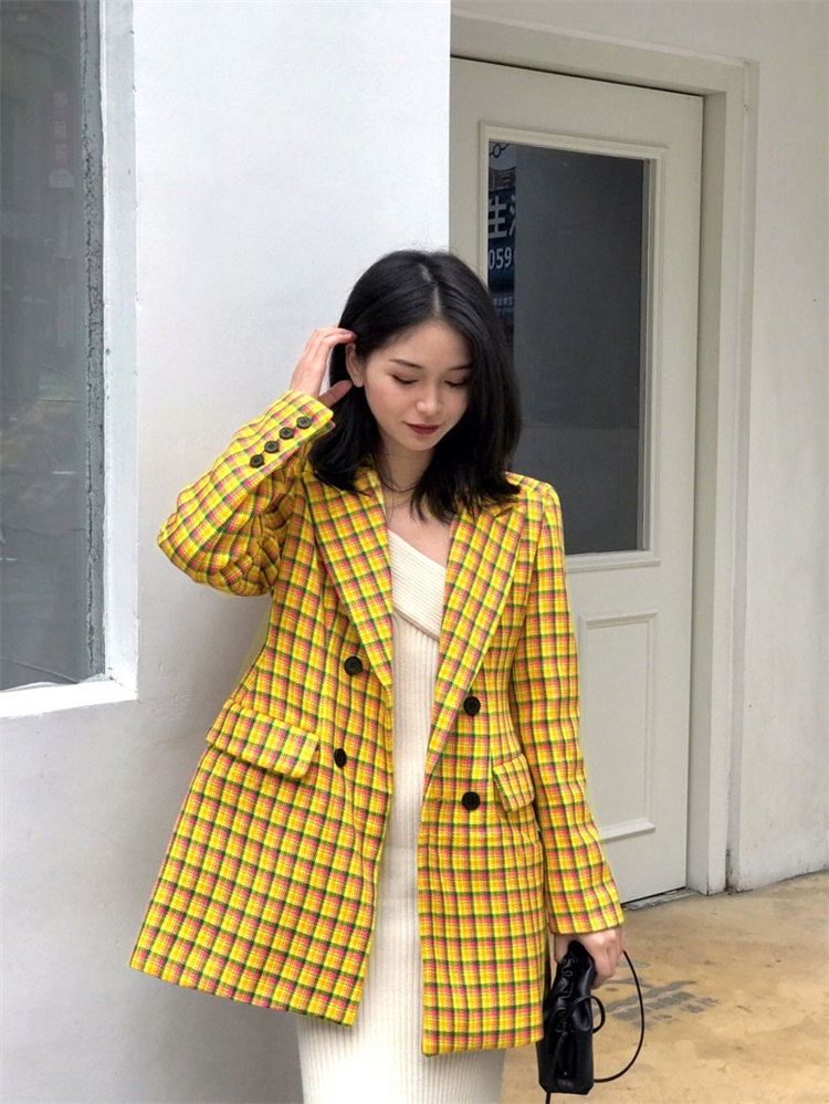 Woolen coat womens medium and long small 2020 popular spring and summer Korean yellow Plaid slim woolen suit