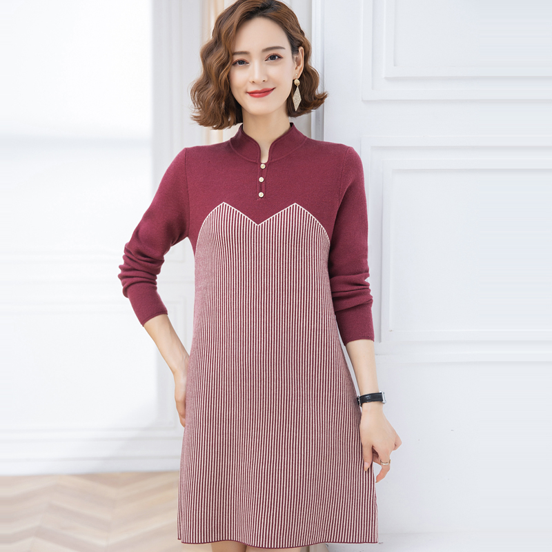 Mom autumn and winter cashmere sweater dress plus fat plus size middle-aged and elderly womens medium and long wool bottomed sweater