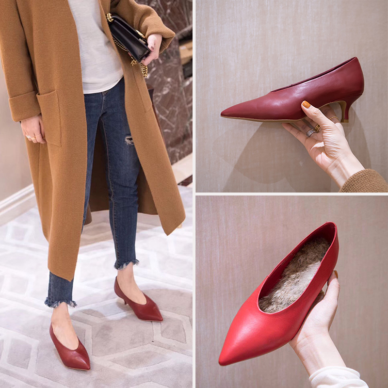 Red pointed high heeled shoes winter plush leather Plush womens shoes retro slim heel single shoes wine red low heeled granny shoes