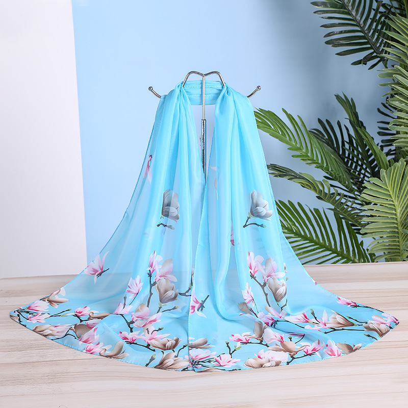 Korean version of all-around spring and autumn new printing scarf female decoration long small silk scarf warm scarf scarf scarf in autumn and winter