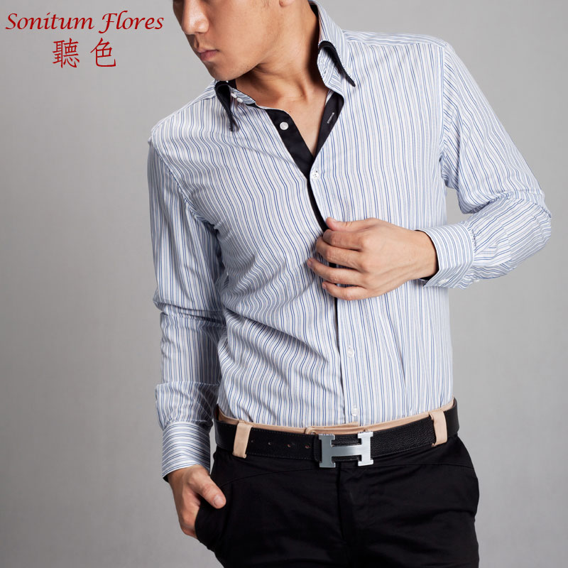 New business fashion button top double high collar stripe pure cotton slim fitting British Style Mens long sleeve shirt