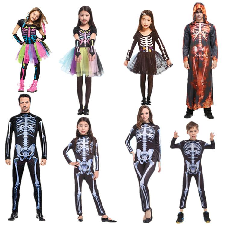 ハロウィンの恐怖の七色の骨組みの服装の役は仮装舞踏会の子供の男女の用品の公演服に扮します。