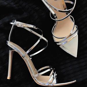 2020新款细跟凉鞋女夏罗马绑带高跟鞋性感尖头细带露趾一字带女鞋