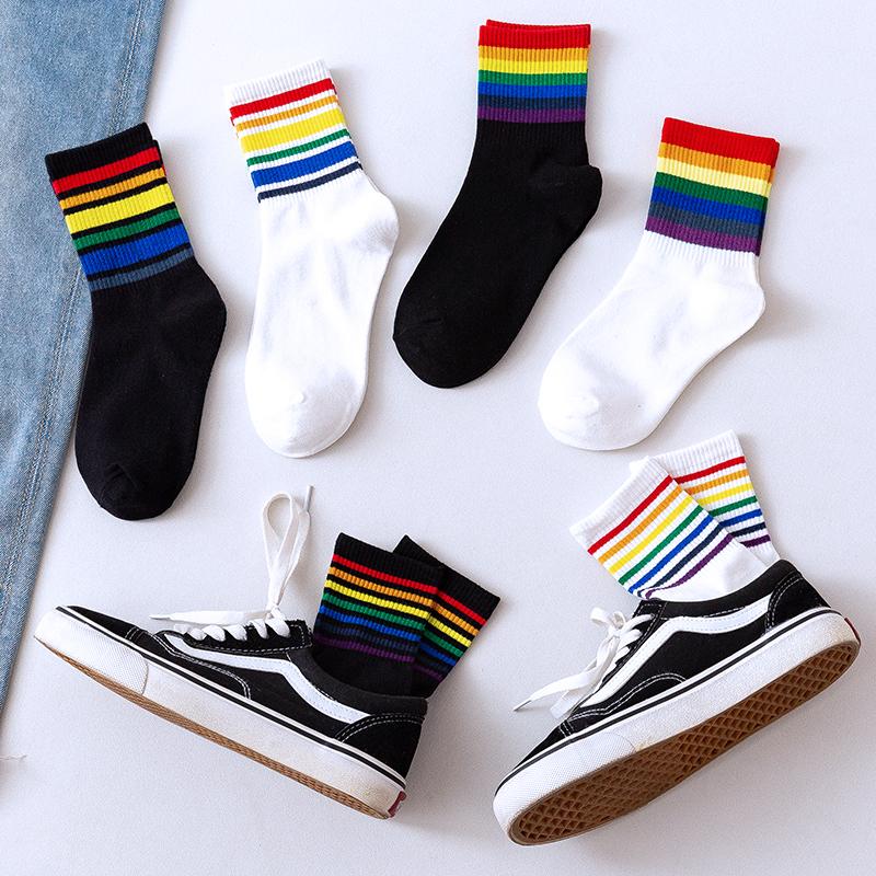 券后14.80元ins网红袜子女全棉彩色彩虹中筒袜