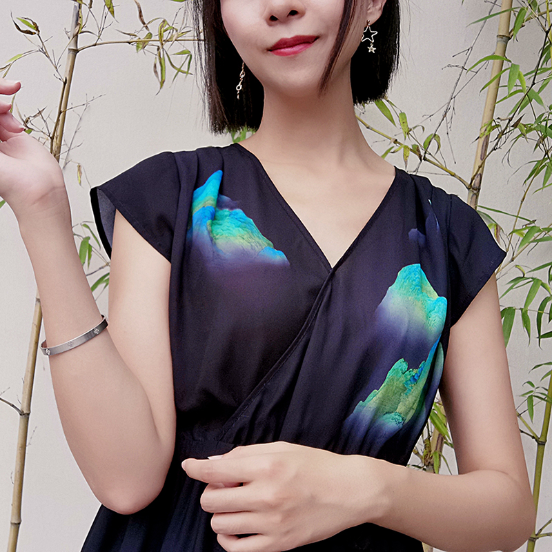 The new version of Wang Ximengs picture of thousands of miles of rivers and mountains improved Hanfu elements two piece retro dress original womens summer dress