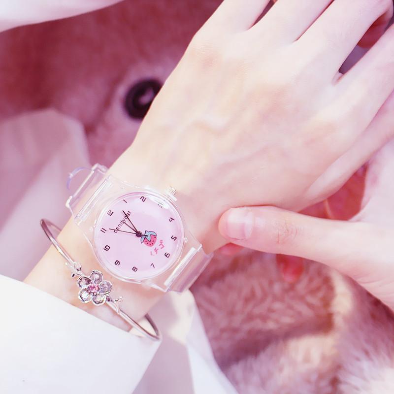 樱花少女手表女学生韩版简约糖果猫小仙女可爱软妹日系果冻硅胶潮