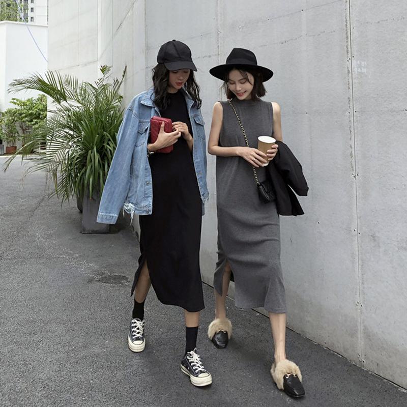 (用3元券)法国小众秋季小针织显瘦过膝连衣裙