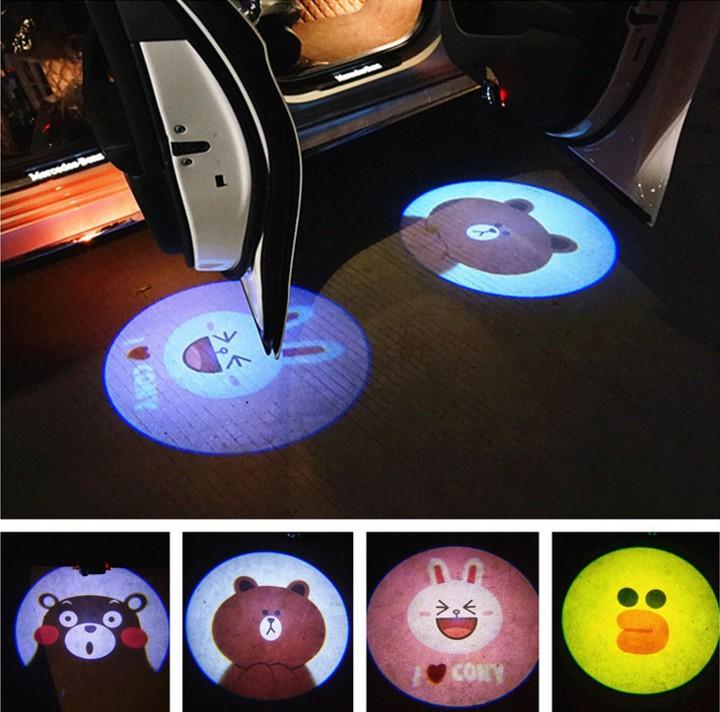 汽车无线车门迎宾灯卡通照地改装镭射灯开门即亮免安装抖音投影灯