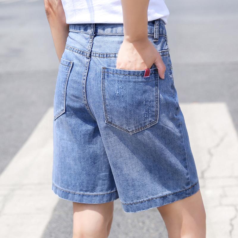 高腰牛仔短裤女宽松夏季薄款2019新款休闲阔腿5分裤中裤五分裤女