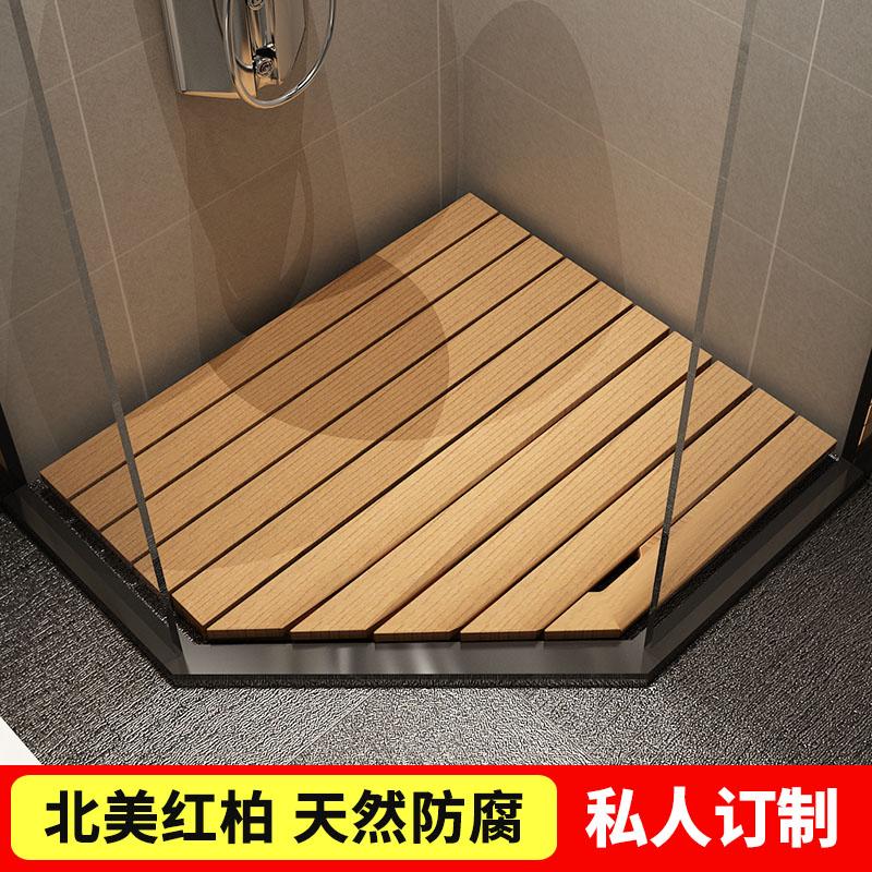指定されたシャワールームに滑り止めマットを敷いて、トイレの防腐木床バスマット防水吸水足場を設ける。