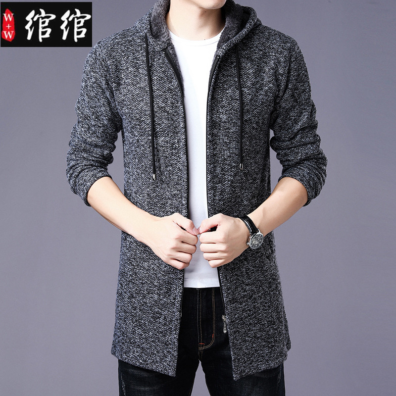 Jacket mens mid long autumn winter mens knitted cardigan mens plush plush sweater mens jacket with cap