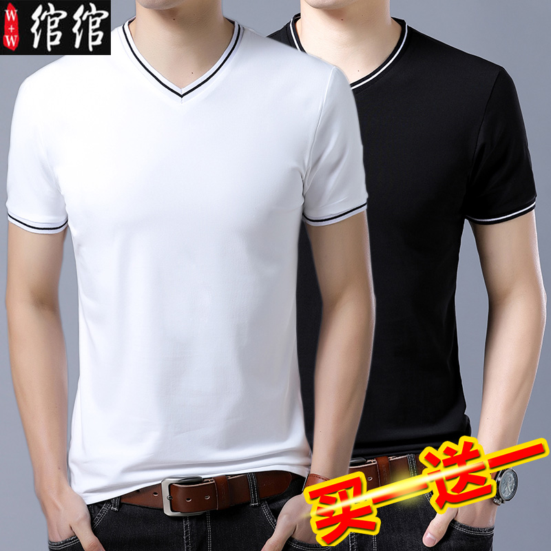 Black and white handsome t-shirt mens short sleeve clothes half sleeve mens wear Korean fashion brand 2020 summer new V-neck T-shirt