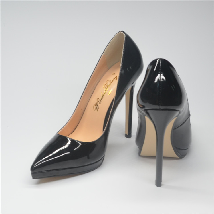 European and American fashion patent leather waterproof platform high heels black pointed thin heels womens shoes 12cm nude light mouth single shoes wedding shoes