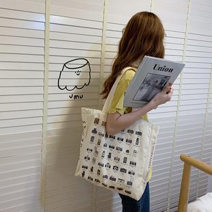 韓國chic風復古相機單肩包ins學院印花手提女包學生大容量帆布包