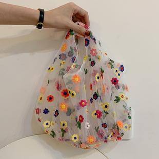 网红透明网纱花朵包日韩可爱刺绣仙女包手提袋购物学生简约沙滩包
