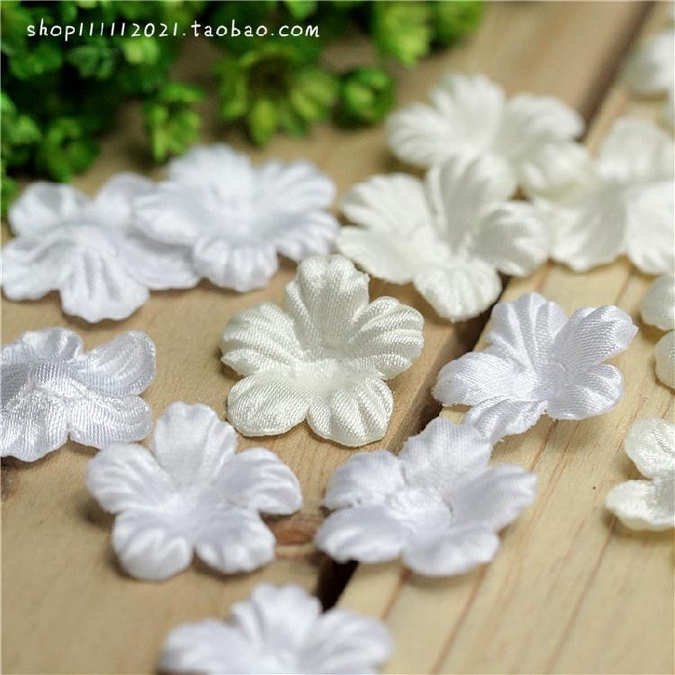 婚纱压片小花朵手工纯白米白色迷你DIY服装头饰装饰辅料 2元10枚
