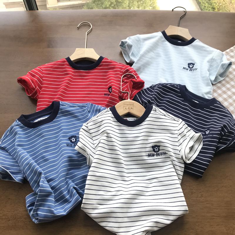 品质到位~价格不贵 110-160男童日系条纹短袖T恤 儿童夏装 new