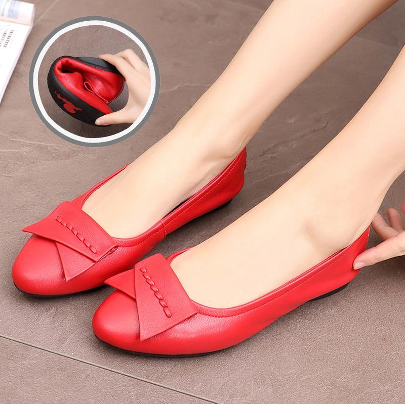 。蜘蛛王专柜圆头红色高跟皮鞋舒适软皮软底真皮妈妈鞋单鞋女平底