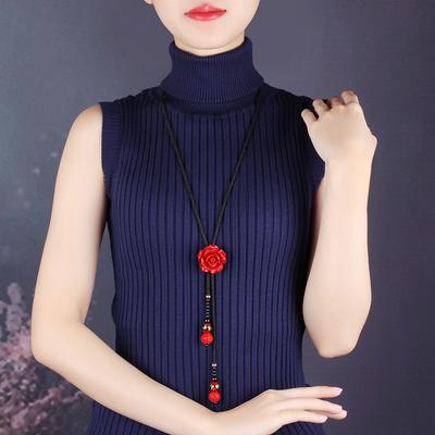复古毛衣链长款项链装饰品可调节红色花朵夏季百搭简约民族风挂饰