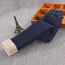 女童棉裤外穿加厚北方儿童加绒加厚款中大童牛仔裤洋气一体绒冬裤